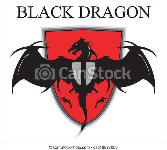 Black Dragon, over the red shield - csp18827063