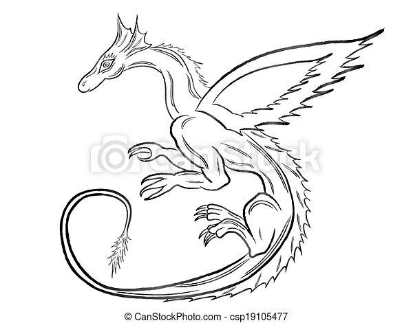 Black dragon over white - csp19105477