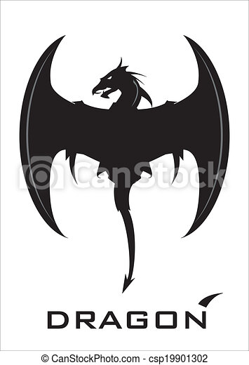 vector clipart of black dragon with the axe wing - symbolizing the