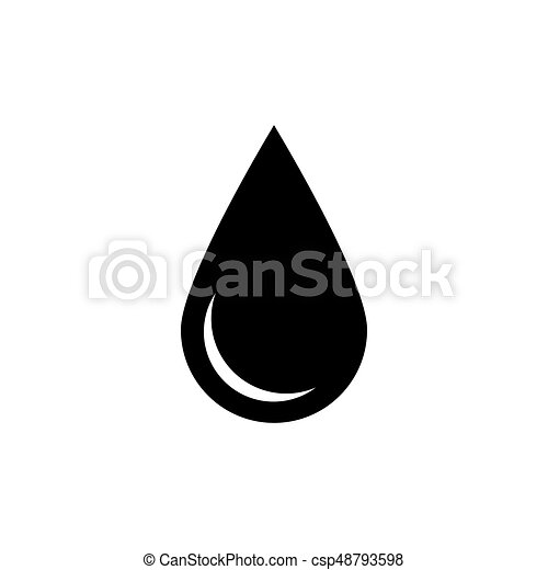Black Drop Icon Oil Or Water Symbol Simple Flat Vector