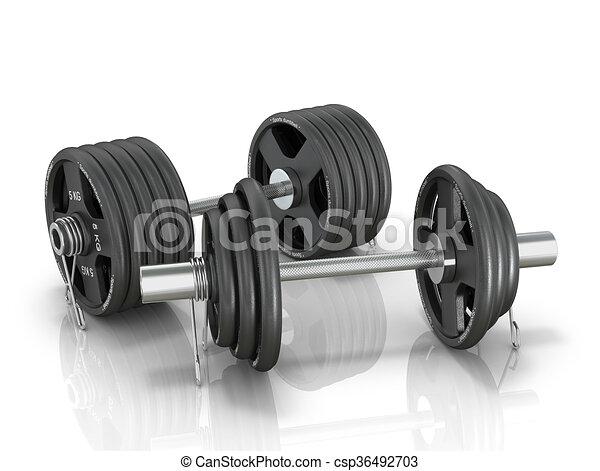 Black dumbbells isolated white background. 3d illustration. - csp36492703