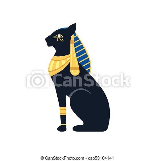 Black Egyptian cat. Bastet, ancient Egypt goddess, vector Illustration - csp53104141
