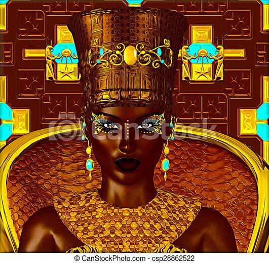 Black Egyptian princess,digital art - csp28862522