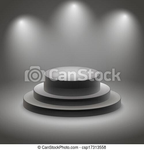 Black empty illuminated podium - csp17313558