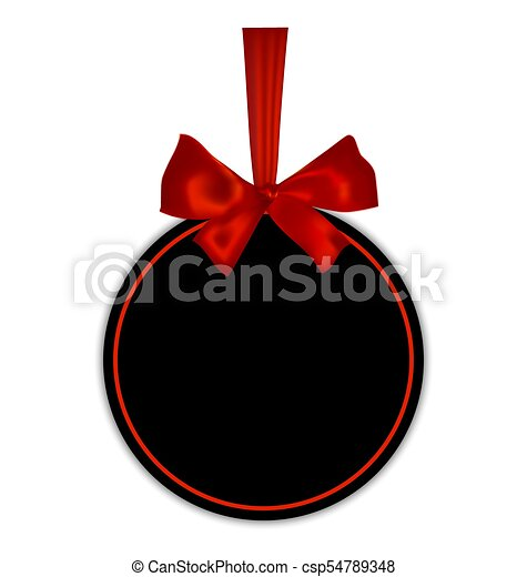 Black empty round gift card template with red ribbon and a bow, isolated on white background, vector illustration. - csp54789348