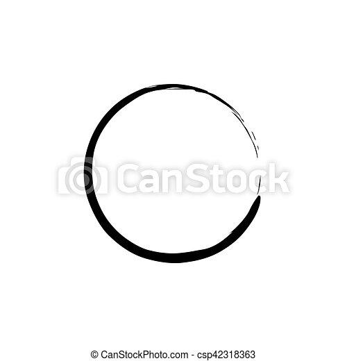 Black Enso Zen Circle on White Background. Vector illustration - csp42318363