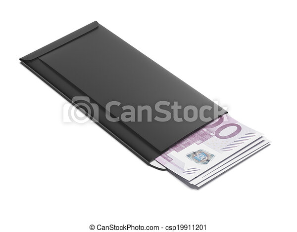 Black envelope with euro bills - csp19911201