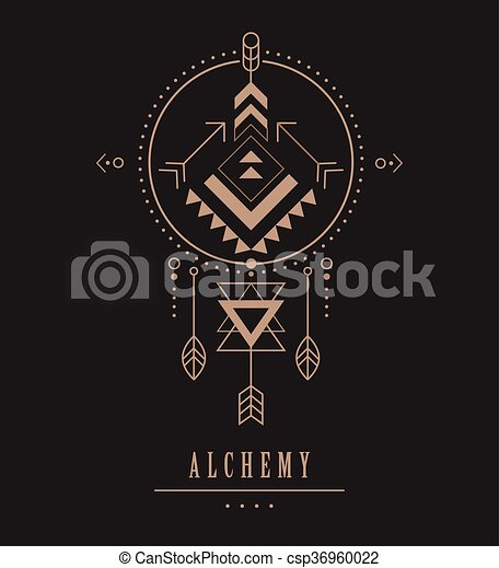 Black Esoteric, Alchemy, sacred geometry, tribal and Aztec, sacred geometry, mystic shapes, symbol and icon - csp36960022
