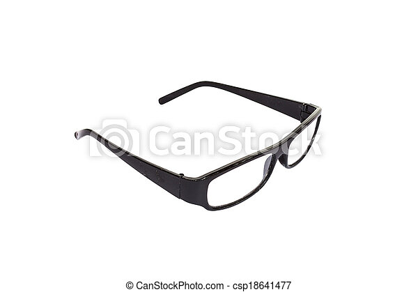 Black eyeglasses isolated on white background - csp18641477