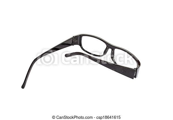Black eyeglasses isolated on white background - csp18641615