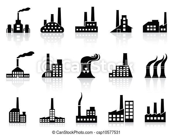 black factory icons set - csp10577531