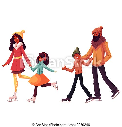 black family of father mother sister and son ice skating eps rh canstockphoto com black family clip art images black family clip art pictures