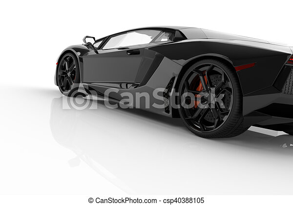 Black Fast Sports Car On White Background Studio. Shiny, New, Luxurious.