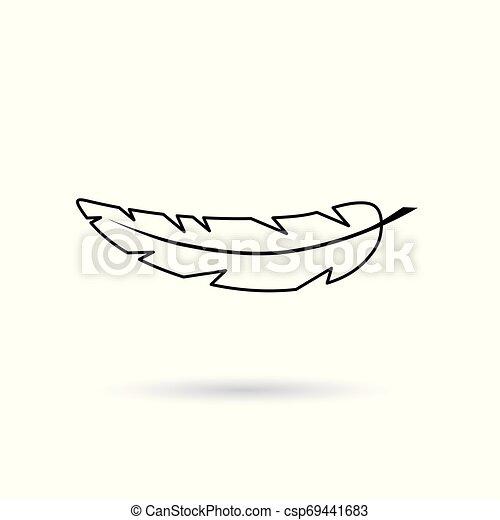 black feather icon- vector illustration - csp69441683
