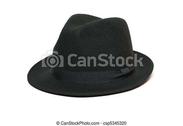 9eb2e68f939db Black felt hat. Black felt hat isolated on white background.