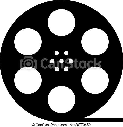 black film reel silhouette concept of filmmaking clipart vector rh canstockphoto com clipart film reel movie reel clipart png