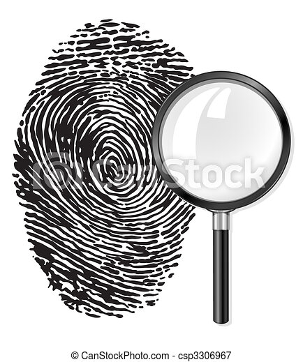 black fingerprint and magnifying glass loupe - csp3306967
