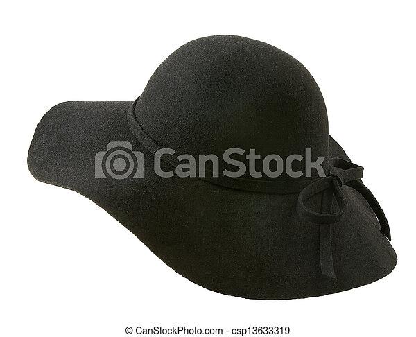 Black floppy felt hat with a lace - csp13633319