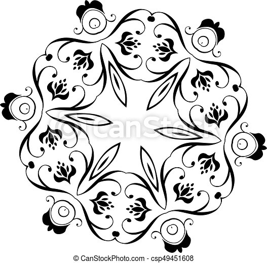 black floral ornament round decorative vintage round floral rh canstockphoto ie floral vector pattern border floral vector pattern free download