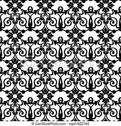 Black floral pattern - csp41622184