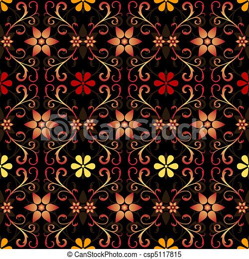 Black floral seamless pattern - csp5117815