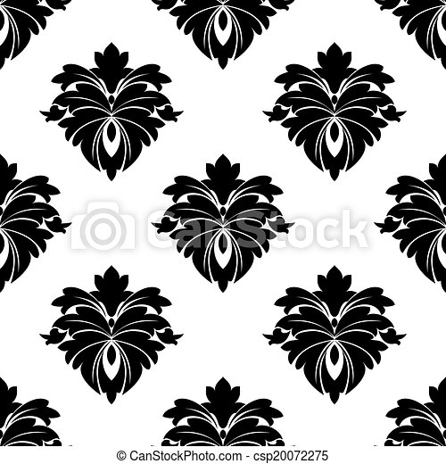 Black floral seamless pattern - csp20072275