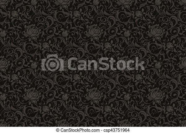 Black floral seamless pattern vector - csp43751964