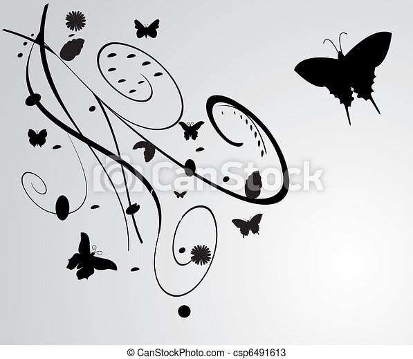 black flowers with butterfly decoration isolated on white - csp6491613