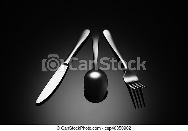 Black food background with knife, fork and spoon - csp40350902