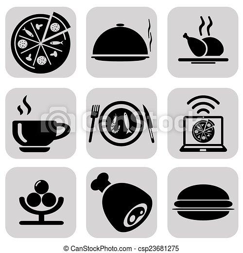 Black food icons set - csp23681275