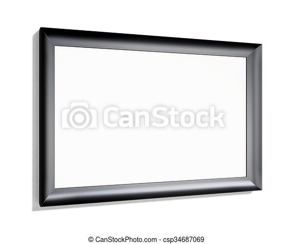 Black frame on a white background. 3d rendering - csp34687069
