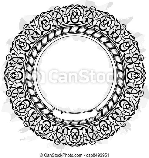 Black frame with ornamental border  - csp8493951
