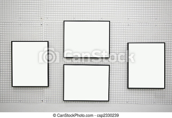 black frames on the white wall - csp2330239