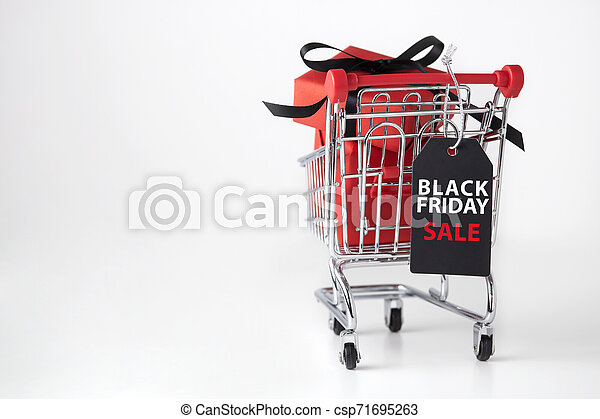 Black friday background with shopping cart - csp71695263