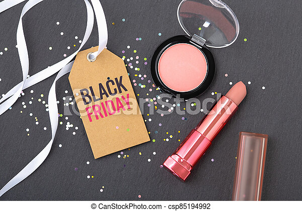 Black friday beauty and makeup sale concept - csp85194992