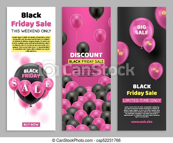 Black Friday Flyers With Balloon Three Vertical Located Cards For Big Seasonal Sale Black And Pink Balls With Percentage