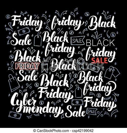 Black Friday Lettering Set - csp42199042