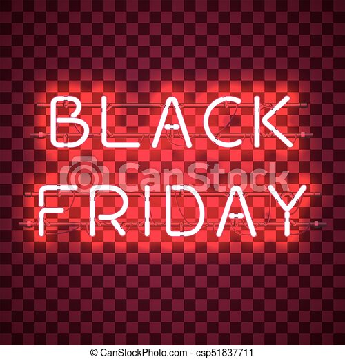 Black Friday Neon Sign Isolated On Transparent Background Shining And Glowing Neon Effect All Elements Are Separate Units