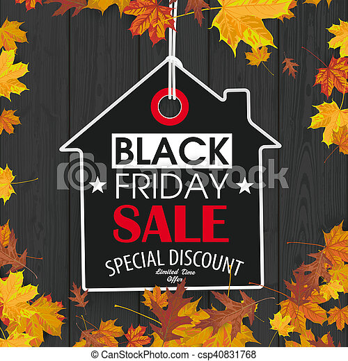 Black friday price sticker house autumn foliage black wood csp40831768