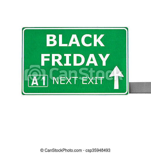 BLACK FRIDAY road sign isolated on white - csp35948493