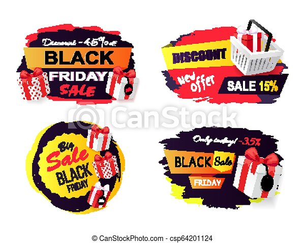 280c6b42fce1 Black friday sale 45 percent off promo sticker. Black friday sale ...