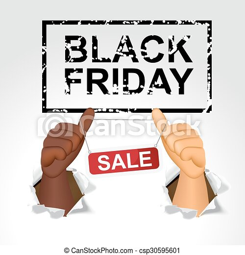black friday sale and man giving the thumbs up - csp30595601