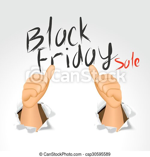 black friday sale and thumbs up - csp30595589