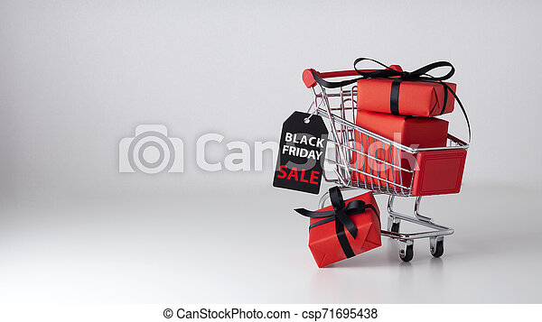 Black friday sale background with shopping cart - csp71695438