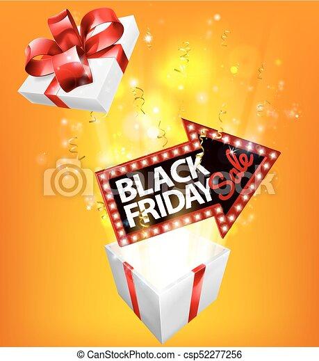 Black Friday Sale Exploding Gift Sign - csp52277256