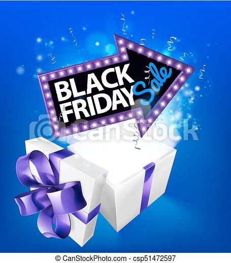 Black Friday Sale Gift Box Sign - csp51472597
