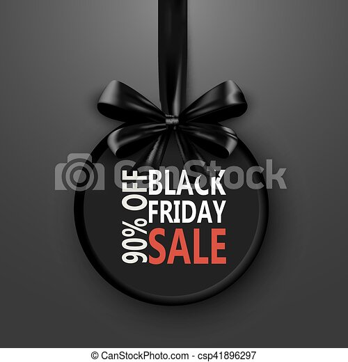 black friday sale inscription design template banner with bow