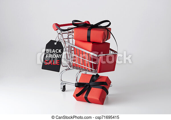Black friday sale label with shopping cart - csp71695415
