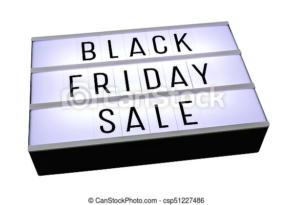 Black friday sale on lightbox isolated on white - csp51227486