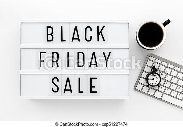 Black friday sale on white table - csp51227474